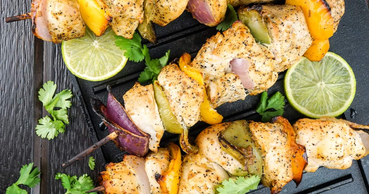 Cilantro Lime Chicken Kabobs - Slender Kitchen