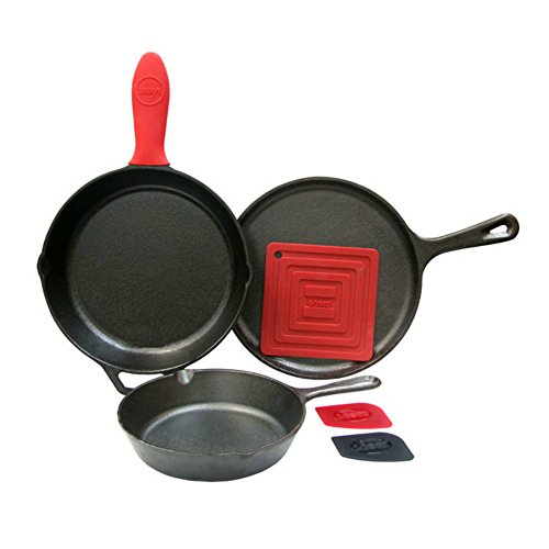 Lodge 6 Piece Seasoned Cast Iron Cookware and Acce...