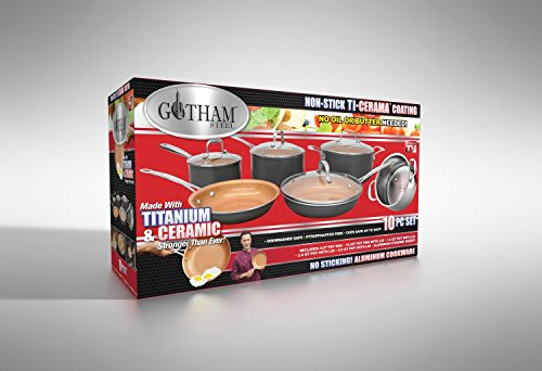Gotham Steel 10-Piece Nonstick Frying Pan and Cook...